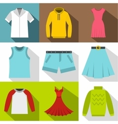 Types of clothes icons set flat style vector
