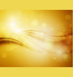 smooth light gold waves lines and lens flares vector image