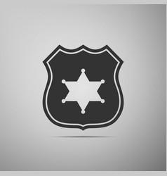 Police badge flat icon on grey background vector