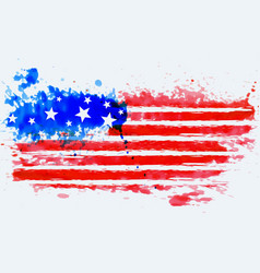 American flag made with watercolor vector