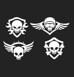 motorbike riders skull signs vector image