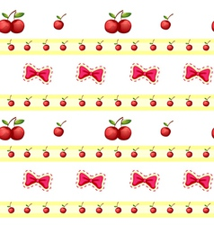 Seamless design with cherries and ribbons vector