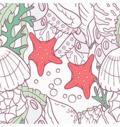 Doodle sea seamless pattern with starfish and vector