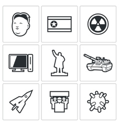 North korea icons vector