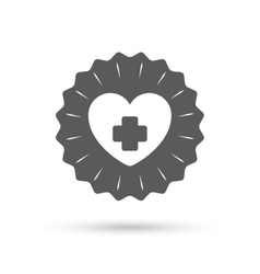 Medical heart sign icon cross symbol vector