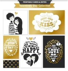 Printable set with couple in love and lettering vector