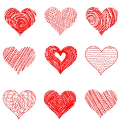 Hand drawn sketch hearts for valentines day design vector