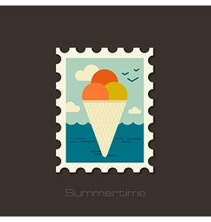 Ice cream stamp summer vacation vector