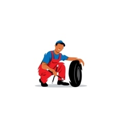 Auto mechanic with wheel sign Tire service vector image vector image
