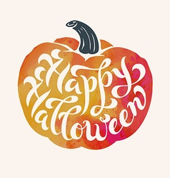 Brush calligraphy happy halloween within a pumpkin vector