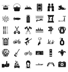Camping adventure icons set simple style vector