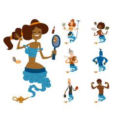 cartoon genie character magic lamp vector image vector image
