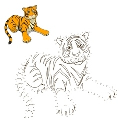 Draw the animal tiger educational game vector