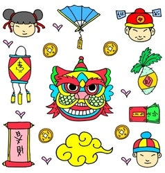 Element Chinese New Year Of Doodle vector image vector image
