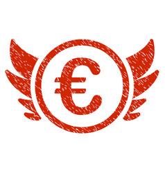 Euro angel investment icon grunge watermark vector