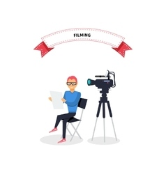 Filming producer man design flat vector