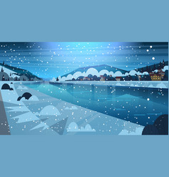 frozen river night view with small country houses vector image vector image