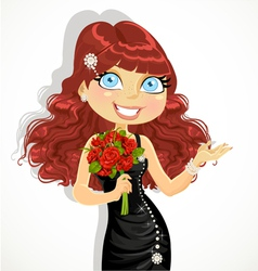 Girl in evening dress with bouquet of red roses vector image vector image