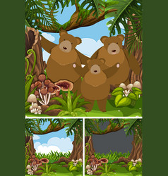 Grizzly bear family in the jungle vector