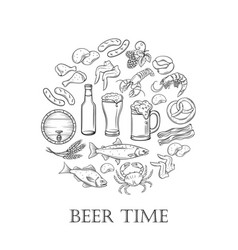 hand drawn beer and snack vector image vector image