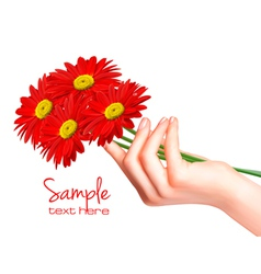 hand with flowers vector image