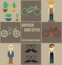 Hipster Bike Style People Flat Cartoon vector image vector image