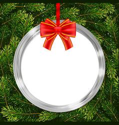 Holiday gift card with christmas ball bow and fir vector