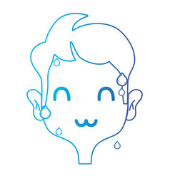 line scared man with hairstyle design vector image