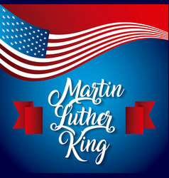 Martin luther king usa flag waving modern design vector