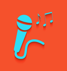 Microphone sign with music notes whitish vector