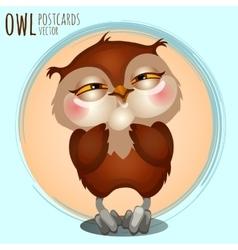 Pleased brown owl cartoon series vector