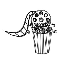 pop corn with film production icon vector image
