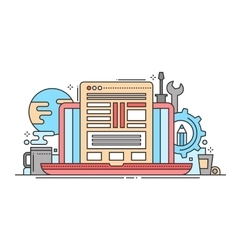 Programming Tools - line flat design website vector image