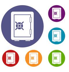 Safety deposit box icons set vector