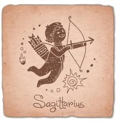 Sagittarius zodiac sign horoscope vintage card vector image