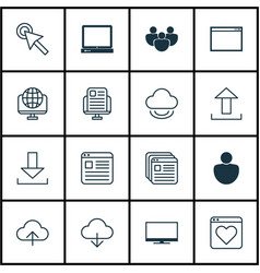 set of 16 web icons includes human login blog vector image vector image