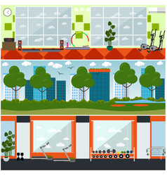Set of gym interior flat posters banners vector