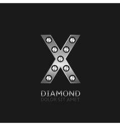 Silver x letter vector