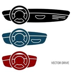 Three icons car dash boards vector
