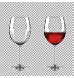 wine glasses - empty half full set of vector image vector image