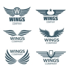 wings logo set vector image vector image