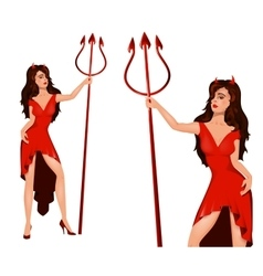 Woman in halloween devil costume vector