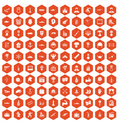100 hero icons hexagon orange vector