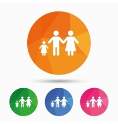 Complete family with one child sign icon vector