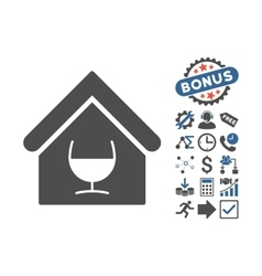 Alcohol bar flat icon with bonus vector