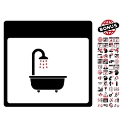 Shower bath calendar page flat icon with vector