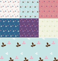 Floral pastel seamless pattern set vector