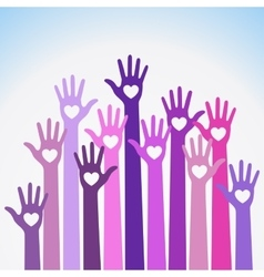 Volunteers colorful caring up hands hearts vector