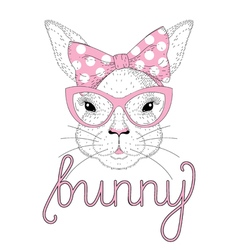 Cute bunny girl portrait with pink pin up bow tie vector