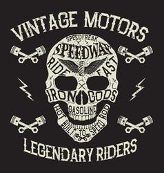 vintage motors emblem with skull vector image